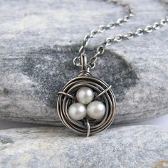 Tiny Pearl Egg Nest Necklace, Sterling Silver Wire Nest Pendant, Oxidized Silver Jewelry