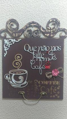 Placa em MDF decorado, com frase sobre café, apliques e ferragens, by Cintia Siloto!!