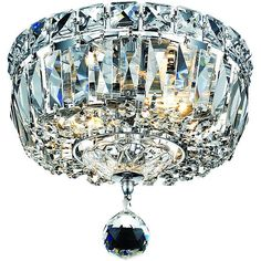 Elevate your dining room lighting with this two-light chrome chandelier. Crafted from shiny chrome with stunning crystal drops, this shimmering chandelier will illuminate your space for a stunning look that will impress guests and enliven your decor.