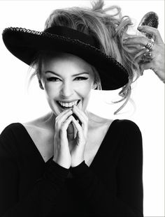 Kylie Minogue wearing a hat by Stephen Jones Millinery. Photo by William Baker For Stylist Magazine February 2012.
