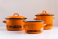 Vintage enamelware Orange Black set of 3 pots casserole dishes UNUSED   enameled kitchen decor made in  Romania