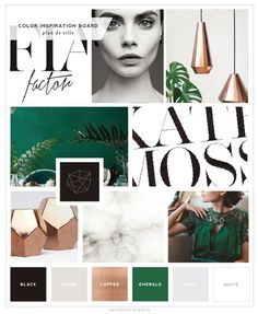 Love this inspiration board // color pallette + modern and script lettering mix                                                                                                                                                      More: