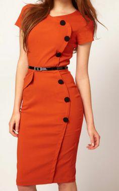 NEW Orange Pinup Bombshell Retro Bodycon Sheath Knee Length Pencil Dress 2XL/XXL