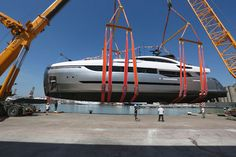 Columbus Yachts 40m Hybrid #Superyacht launched recently featuring diesel electric propulsion. #yacht #launch