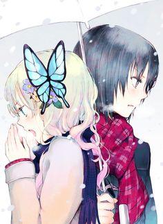 Anime art illustration girl love