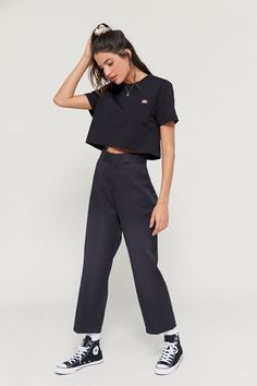 Shop Dickies UO Exclusive High-Waisted Ankle Pant at Urban Outfitters today. Tumblr Outfits, Indie Outfits, Retro Outfits, Grunge Outfits, Short Outfits, Vintage Outfits, Casual Outfits, Fashion Outfits, Girl Outfits