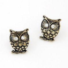 Business Bronze Diamond Decorated Owl Shape Design Alloy Stud Earrings www.asujewelry.com