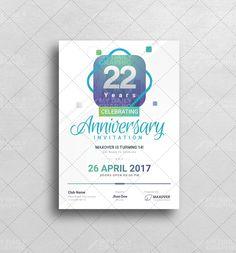 Anniversary Invitation Design with Multiple Colors - Graphic Design Templates Mobile Project, Anniversary Invitations, Graphic Design Templates, Brochure Template, Invitation Design, Colors, Flyer Template, Birthday Invitations