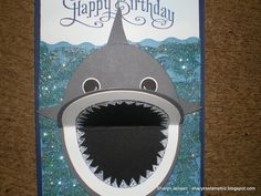 Shark Card For Gracen Very Cute A Boy Or Girl Birthday Made With Ovals And Pennants Punch Mouth Opens Closes D