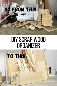 Easy DIY scrap wood organizer to help get your woodworking shop organized. Corral all that scrap wood in place and clean up your workshop! Scrap Wood Projects, Woodworking Projects That Sell, Woodworking Shop, Shop Organization, Wood Working For Beginners, Easy Home Decor, Make It Simple, Easy Diy, Wood Workshop