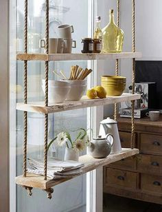 Add Some Extra Storage to Your Kitchen with Hanging Shelves That Will Bring Style Too
