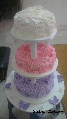 Wedding Cake ~ Chocolate Moist Cake ~ Rose Swirl Buttercream Deco in White, Pink And Purple