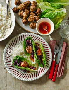 Thai turkey lettuce wraps - Gluten free and a great quick dinner for the whole family. Turkey Recipes, New Recipes, Healthy Recipes, Sainsburys Recipes, Turkey Lettuce Wraps, Midweek Meals, Weeknight Meals, Light Recipes, Food Inspiration