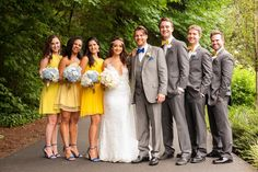 Blue, White and Yellow Bridal party flowers. www.lushfloraldesignpdx.com