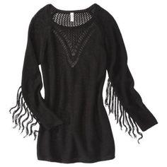 tunic sweaters with fringe | Xhilaration® Juniors Fringe Detail Tunic Sweater - Black