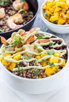 Cilantro Lime Shrimp Quinoa Bowls   Delicious healthy quinoa bowls full of Southwest and tropical favors!   Danae   Recipe Runner