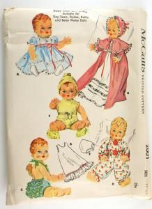 McCall's 2001 Vintage Doll Clothes Pattern Dress Sunsuit Bonnet Tiny Tears Dydee Betsy Wetsy