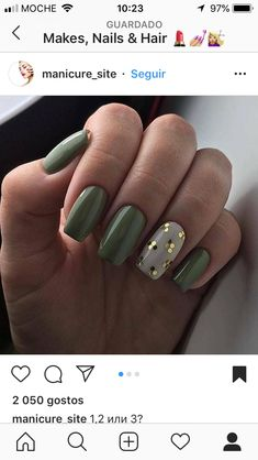 This Content For You Personally If You Like green nails Don't Ignore These Guidelines Green Nail Designs, Fall Nail Art Designs, Creative Nail Designs, Short Nail Designs, Beautiful Nail Designs, Cute Nails, Pretty Nails, Hair And Nails, My Nails