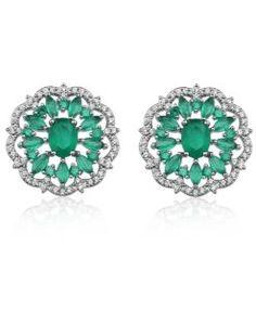 brinco rendado esmeralda com zirconias cristais semi joias de luxo