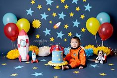 Outer Space Astronaut Cake Smash inspiration ideas. Spaceship cake for birthday party. Blue, yellow and red decorations for birthday baby boy. Vancouver Photographer Amanda Dams. Rocket Birthday Parties, Baby Boy 1st Birthday Party, 1 Year Old Birthday Party, Yellow Birthday, Garden Birthday, 1st Birthday Party Ideas For Boys, Birthday Party Decorations, Astronaut Party, Outer Space Party