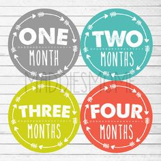 Monthly Baby Stickers Baby Boy Month Stickers Milestone Stickers Monthly Photo Bodysuit Arrow Tribal (Solid Arrows Bright Boy)