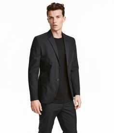 Check this out! Two-button blazer in crisp poplin made from a pima cotton blend. Decorative buttonhole on one lapel and decorative buttons at cuffs. Chest pocket, front pockets with flap, and two inner pockets. Vent at back. Lined. Slim fit. - Visit hm.com to see more.