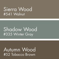 Walnut for Sierra Wood Winter Gray for Shadow Wood and Tobacco Brown for Autumn Wood - March 09 2019 at Exterior Paint Colors For House, Interior Paint Colors, Paint Colors For Home, Exterior Colors, Interior Design, Brown Paint Colors, Neutral Paint, Interior Ideas, Interior Detailing