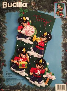 Peanuts felt applique christmas stocking kit sweet treesnoopy bucilla felt christmas stocking kit toy soldiers 83201 18 inch personalize craft bucilla solutioingenieria Images