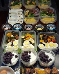 Do you #mealprep? I find that spending 1-2 hours prepping 3-5 meals and snacks for the week is the key to staying on track. For me: kabob veggies 2 boiled eggs 1 cup low fat cottage cheese with 1/2 cup blueberries. I don't want meat for lunch this week so I will get protein from cottage cheese and the eggs For Travis 93/7 ground beef patties sweet potato mash broccoli and kabob veggies yogurt Power Crunch bar Also made extra boiled eggs and chicken/veggie kabobs. #mealprepsunday #fit…