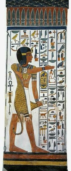 "scene from the ""House of Eternity"" of Queen Nefertari, Valley of the Queens, west 'Uaset'-Thebes: Horus 'Iunmutef' (""the Pillar of His Mother""), represented with the sidelock of youth and the Uraeus, and wearing the traditional panther/leopard. Ancient Egyptian Paintings, Ancient Egypt Art, Egyptian Art, Ancient History, Art History, Kemet Egypt, Templer, Art Antique, Egyptian Mythology"