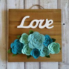 Felt Flower Wood Sign Love Blue Roses 10 by MidAutumnFox on Etsy
