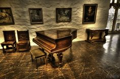 Looks like this room exists within a castle. #piano #studio