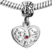 European Beads - silver heart with tree and july birthstone red crystal dangle european beads Image.