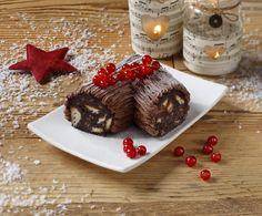 Tronchetto di Natale fatto con salame al cioccolato Bocon
