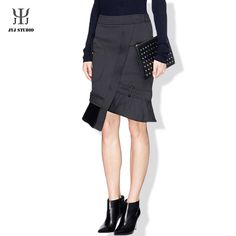 Black Asymmetrical Skirt Pocket High Waisted Skirts Womens Ladies Office Skirts Designs Sexy Mermaid Skirt Red Pencil Skirt