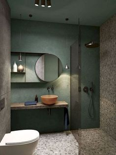 a creative small bathroom with a green wall, terrazzo flooring and wall, a wooden floating vanity and a coral bowl sink You are in the right place about rectangular bathroom mirror H Bathroom Design Inspiration, Bad Inspiration, Design Ideas, Design Trends, Bathroom Design Luxury, Bathroom Design Small, Bath Design, Bathroom Designs, Luxury Bathrooms