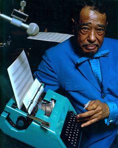 Ellington At The Keyboard. Photograph of Duke Ellington for an Olivetti advertisement. Undated.