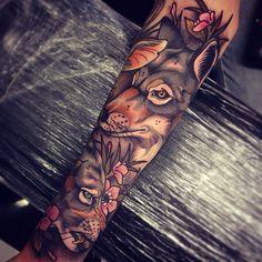 #tattoo by @tom_bartley #tattoos #tattooart #neotrad #neotraditional #colortattoo