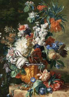 Reproduction Painting Jan Van Huysum Bouquet of Flowers in an Urn, Hand-Painted Reproductions Art Oil On Canvas Art Floral, Dutch Still Life, Oil Painting Reproductions, Painting Edges, Texture Art, Stretched Canvas Prints, Art Oil, Flower Vases, Bouquet Flowers