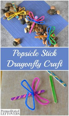 Popsicle Stick Dragonfly Craft with Buttons- This fun and frugal dragonfly craft is a great way to teach kids about the letter D!