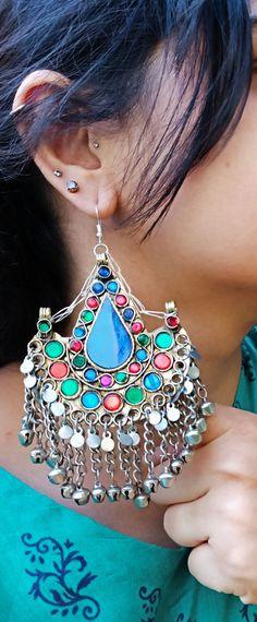 Crescent earrings- Half moon earrings- Tribal Hoop earrings- Bohemian jewelry- Gypsy jewelry- Tribal earrings- Dangle earrings- Half moon Tribal Earrings, Moon Earrings, Tribal Jewelry, Etsy Earrings, Shape Design, Bohemian Jewelry, Hoop, Glass Beads, Crochet Earrings