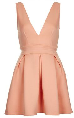 Topshop Pink Deep V Printed Scuba Dress By Oh My Love