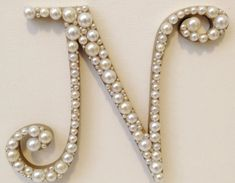Curly Pearl Monogram Cake Topper - Any Letter A B C D E F G H I J K L M N O P Q R S T U V W X Y Z