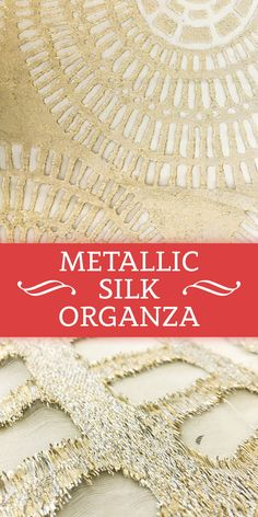 Silk Organza with Large Rosette Tile Patterned Metallic Fil Coupé in Gold and Silver (Made in Italy)