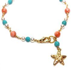 Angelskin Coral Bracelet Turquoise Freshwater Pearl Beaded Bracelet Gold Starfish Summer Bracelet Gemstone Jewelry