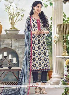 Beige N Navy Blue Printed Khadi Cotton Pant Style Suit