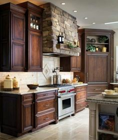 Love this look  and the stone range hood