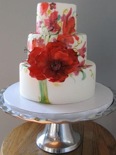 wedding bouquet cake - hand painted sugar flower fondant wedding bouquet cake red