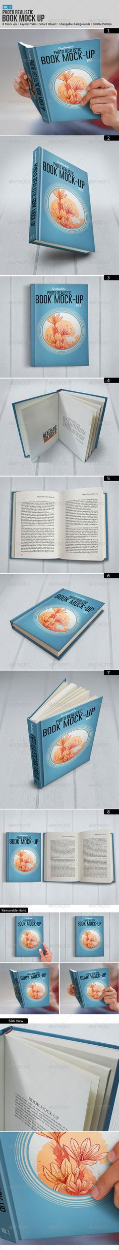 Photo Realistic Book Mock up High Resolution 3000x2500 pixels 8 Fully Layered .PSD file, / Light, Shadow, Hand, Book, Backgroun