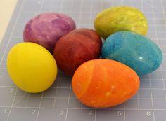 6 Vintage Dyed Alabaster/Onyx/Marble Easter Eggs Approx2.5x1.75 OrangeBluePurple